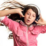 Girl listing to music