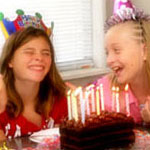 girls laughing at a birthday party