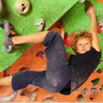 boy at rock climbing gym