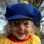 girl dressed as circus clown