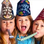 three girls wearing New Year's Eve party hats